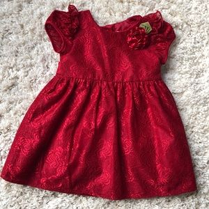 Floral Red Holiday Dress